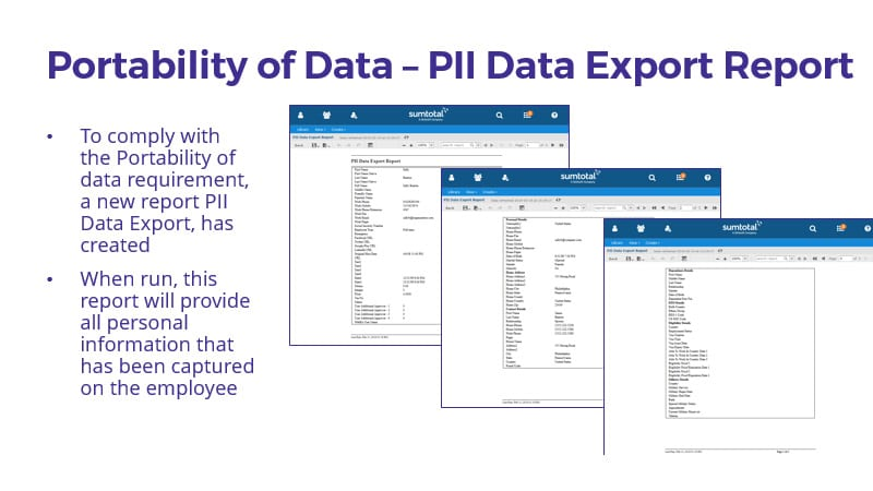 Portability of data: Employers must provide an employee, current or departing, with a copy of all their data that was collected.