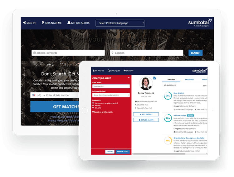 SumTotal's Recruiting management solution streamlines the hiring process with easy-to-use tools and resources for candidates, employees, managers, and administrators.